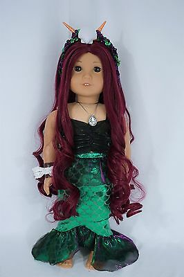 "custom American girl 18"" doll reddish purple hair and brown eyes"