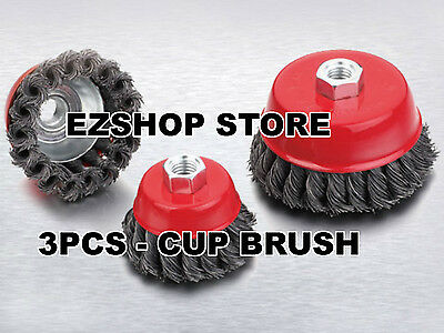 """(3pcs lot) 3"""" & 4"""" Arbor FINE Knot Wire Twist Cup Brush For Angle Grinders Wheel"""