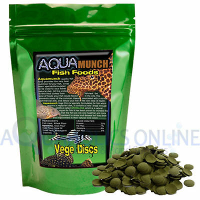AQUAmunch Vege Disc Algae Wafers Aquarium Catfish Fish Food Spirulina 10mm