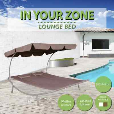 White/Brown Outdoor Sun Lounge Bed Double Canopy Shade Garden Recliner Daybed