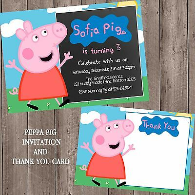 PEPPA PIG personalized chalkboard invitation with thank you cards envelopes