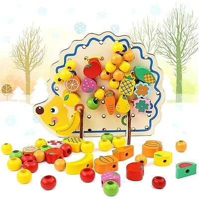 Kids Wooden Toys Fruits Vegetables Lacing & Stringing Beads + Hedgehog Board Set