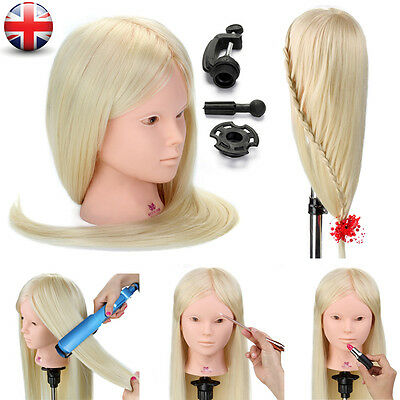 "26"" 50% Real Human Hair Training Head Hairdressing & Makeup Manikin With Clamp"