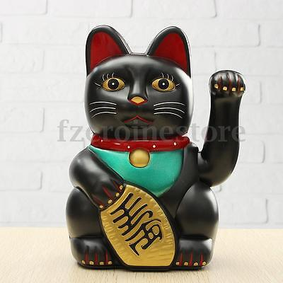 """Chinese Lucky Waving Black Cat Moving Arm Fortune Feng Shui 8"""" Battery Powered"""