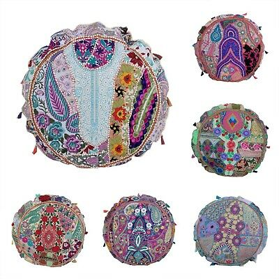 Handmade Traditional Vintage Floor Cushion Patchwork Footstool Pouffe Cover 80cm