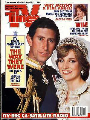 Tv Times Magazine 2/8/91 Prince Charles & Lady Diana, Jaclyn Smith, Eddie Large