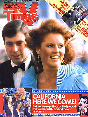 Tv Times Magazine 4/3/88 Prince Andrew & Sarah Ferguson, Maurice Roeves