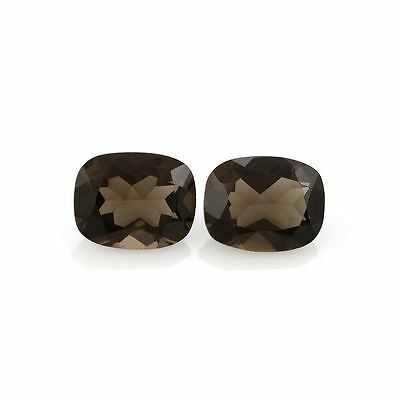 A PAIR OF 8x6mm CUSHION-FACET NATURAL BRAZILIAN SMOKEY QUARTZ GEMSTONES