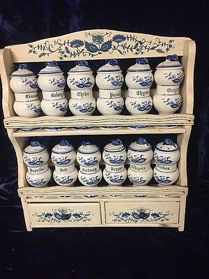 Blue Onion 12 Spice Jars with Wood Spice Rack