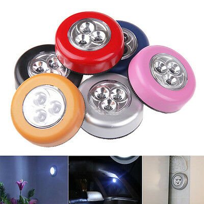 3 LED Wall Light Kitchen Cabinet Closet Lighting Sticker Tap Wireless Touch Lamp