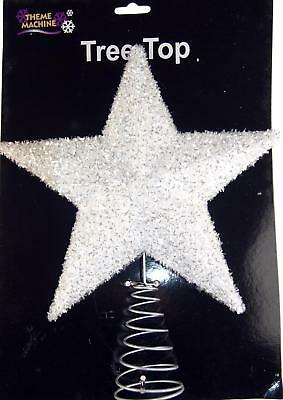 Large Texture Dazzling White (Silver Fleck) Star - Christmas Tree Top Topper