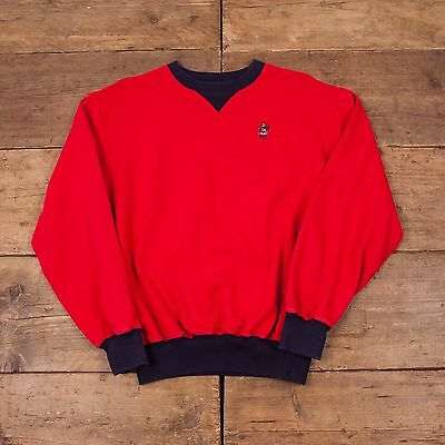 "Mens 90s Vintage Polo Ralph Lauren USA Bear Sweatshirt Jumper Red S 36"" R3866"