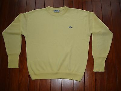 80S Vintage Lacoste Acrylic Pullover Size L  / Jersey Sueter Amarillo Talla G