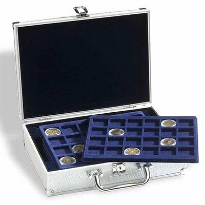 ALUMINIUM COIN DISPLAY CASE inc 6 TRAYS - CHOICE OF TRAY SIZES 33mm, 41mm, 48mm