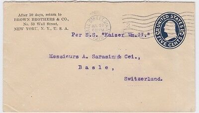 United States-1912 5 c blue on white Die A PS letter EN513 cover to Switzerland