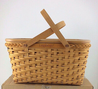 Longaberger Founders Tribute to Dave Medium Market Basket w Protector Lid GREAT