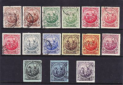 Barbados 1916-19 Complete Set With Some Shades Sg 181-191 Fine Used.