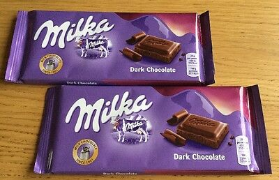 MILKA  - 2 x  Dark Chocolate Bars -  100 g each - Brand New