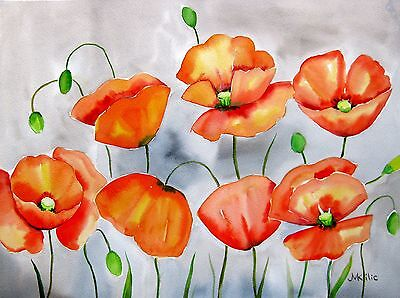 """Klatsch Mohn"" Original Blumen Aquarell Watercolor Flowers 30x40cm Unikat Grau"