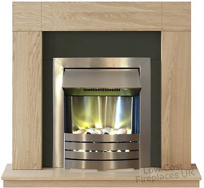 Electric Black Ivory Oak Surround Silver Small Wall Modern Fire Fireplace Suite