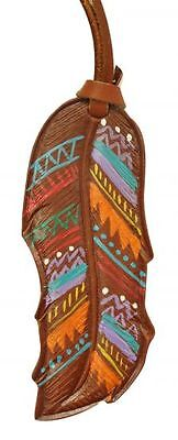 "5"" Leather Southwest Design Painted Feather Saddle Tie On! NEW HORSE TACK!"