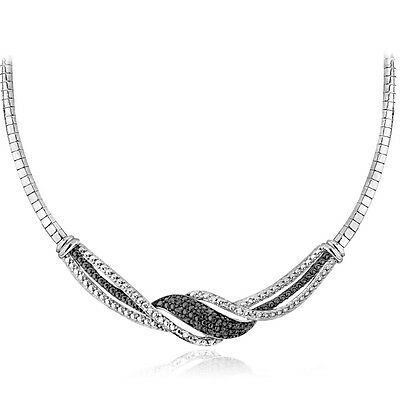 0.25ct Natural Diamond Twist Frontal Necklace in Silver or Gold Plated Brass