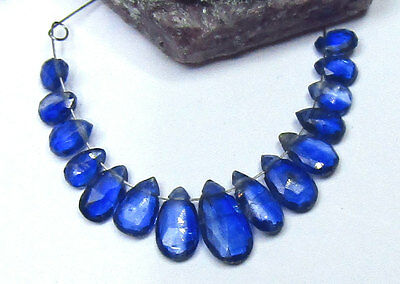 15 RARE NATURAL BLUE FACETED KYANITE BRIOLETTE BEADS 5-10mm 9.75cts