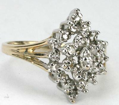 Lds Solid 14kt Gold .25cts TW 27 Diamonds Cluster Ring sz5 3/4 FREE Shipping
