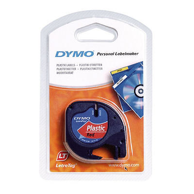 Dymo Letratag Label Plastic Red Letra Tag Lt 100 Tape Ruban Nastro Rosso 4 Meter