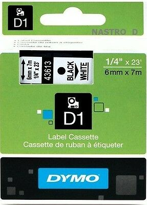 ORIGINAL DYMO D1 LABEL 6mm x 7M 43613 TAPE BLACK WHITE NOIR BLANC NASTRO BIANCO