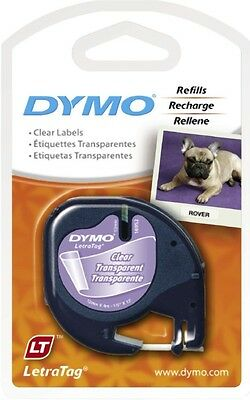 Dymo Letratag Label Ruban Transparent Tape Plastic Clear Lt Trasparente 4 Meter
