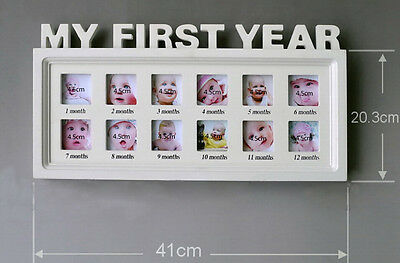 My First Year Wall Hanging Baby Prints Photo Picture Keepsake Frame ,White
