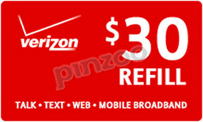 Verizon Refill Minutes $30 Card On Sale Only $29.89