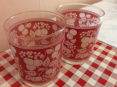 vintage double shot / tumbler glasses x2 with inlaid red cherries & vines: Perfe