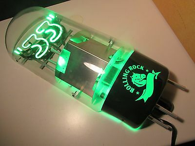 NEW Rare Rolling Rock 33 Amplifier Tube Beer Neon Sign Brewery Green Horse Bar
