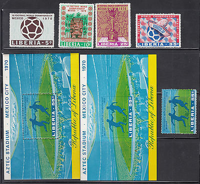 Liberia # 511-15 MNH Complete + 515 IMPERF + 515 Stamp 1970 Football Soccer