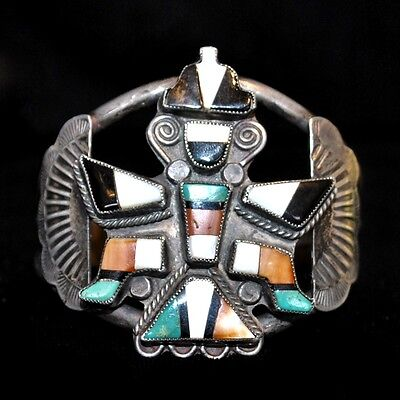 Old Pawn/Estate, Sterling Silver & Multi-Stone Zuni Knifewing Bracelet