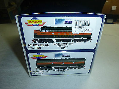 """Ho Athearn Genesis """" Great Northern"""" F7 A&b Both Powered Dcc Sound"""
