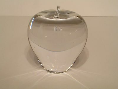 Lovely Larson Signed Art Glass Crystal Signed Apple Paperweight