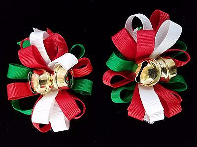 NEW Kids Girls Christmas Holiday Red White Green Jingle Bell Fashion Hair Bow