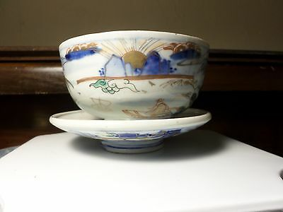 Antique Chinese Tea Bowl and Saucer Blue and Gold EC Country Scene Hand Painted