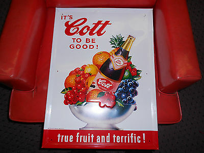 Vintage Cott To Be Good! Stout Advertising Fruit Drink Sign