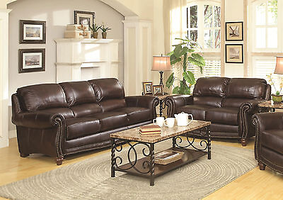 MIRADOR - Traditional Genuine Brown Leather Sofa Couch Set - New Living Room