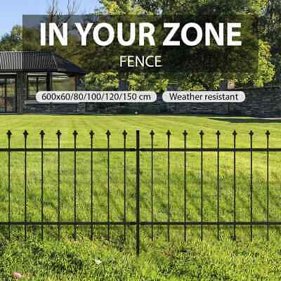 5 Sizes Spear Top Fence Panels Steel Powder Coated Black Security Lawn Garden