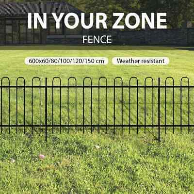 5 Sizes Loop Top Fence Panels Steel Powder Coated Black Security Lawn Garden
