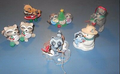 Raccoon Christmas Ornaments by Hallmark (set of 7)