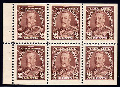 Canada #218b - King George V Pictorial, 2 cents Brown Booklet Pane of 6, 1935