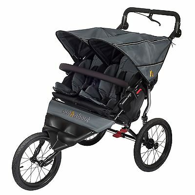Out N About Nipper Sport Double Stroller Includes Rain Cover - Steel Grey