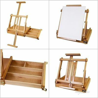 Portable Table Easel Large Wooden Sketch Box Painting Drawing Drafting Artist