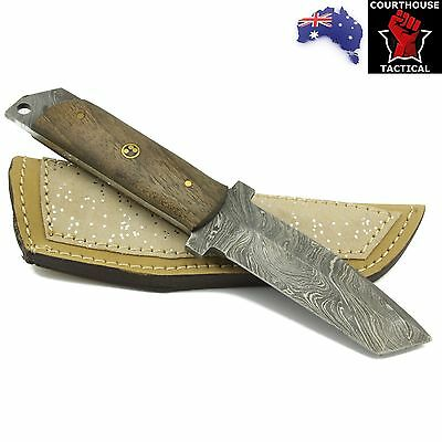Handmade Hunting Knife, Damascus Blade, Walnut Wood Handle, Leather Sheath - A6